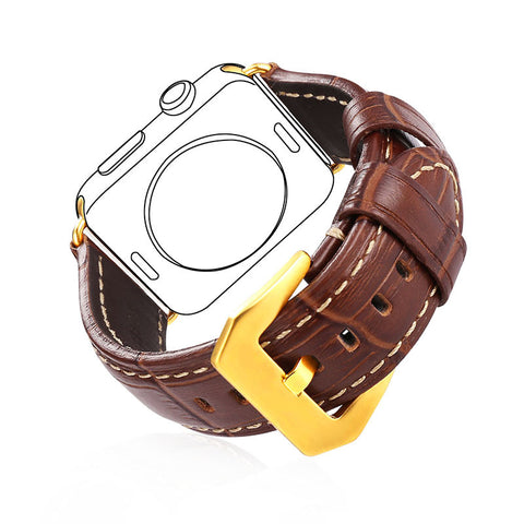 Classic Buckle Brown Genuine Leather With Metal Clasp Buckle Replacement Strap for Apple Watch Sport/Edition All Versions