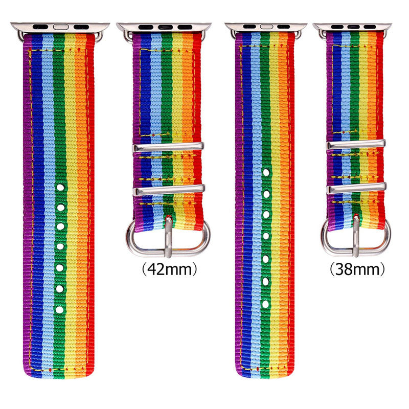 Rainbow Watchband Denim Fabrics Replacement Wrist Band for Apple Watch Sport/Edition Series 2/Series 1 All Version
