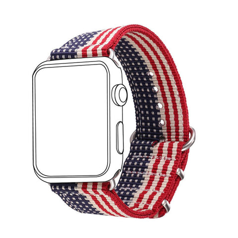 Stars and Stripes Nylon Fabrics Watchband for Apple Watch Sport/Edition Series 2/Series 1