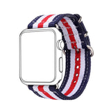 Navy Strips Nylon Fabrics Watchband Replacement Wrist Strap for Apple Watch Sport/Edition Series 2/Series 1