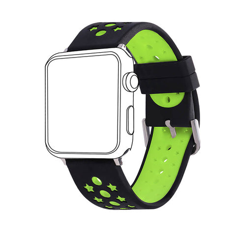 38MM/42MM Green Stars Designs Silicone Strap Sport Band for Apple Watch Series 2/1