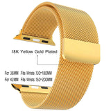 Watchbands For Applewatch 2 Milanese Loop Yellow Gold Plated Stainless Steel Strap with Magnet Lock