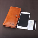 Smartphone Wallet Case Slim Soft PU Leather Long Bifold Clutch Purse