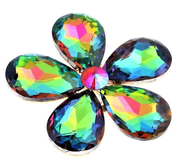 Multi-Color Crystal Flower Magnetic Brooch - QB's Magnetic Creations