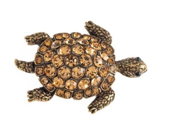 Rhinestone Sea Turtle Magnetic Brooch - QB's Magnetic Jewelry Creations