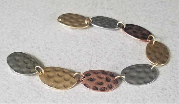 Tricolor Metal Hammered Magnetic Jewelry String - QB's Magnetic Jewelry Creations