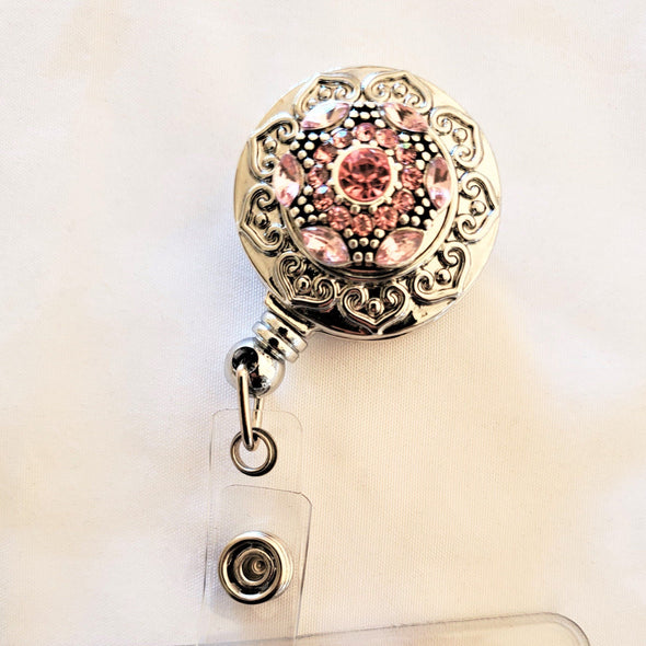 Retractable Beaded Hearts Magnetic Badge Holder - QB's Magnetic Jewelry Creations