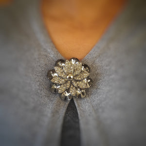 Black Floral Rhinestone Magnetic Brooch - QB's Magnetic Creations
