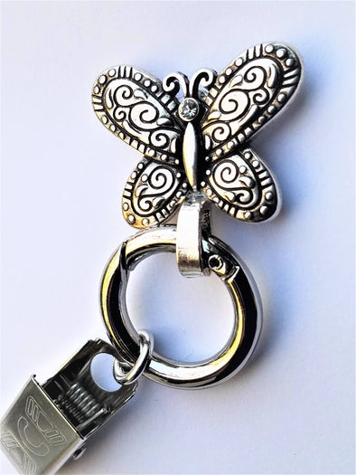 Silver Butterfly Magnetic Badge / Eyeglass Holder - QB's Magnetic Jewelry Creations