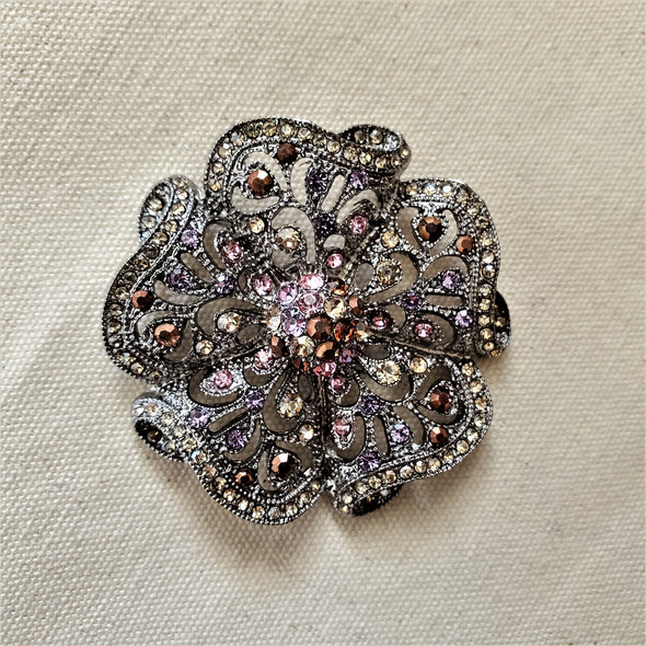 Crystal Flower Magnetic Brooch - QB's Magnetic Jewelry Creations