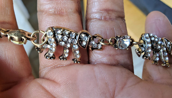 Gold Rhinestone Elephant Magnetic Jewelry String - QB's Magnetic Jewelry Creations