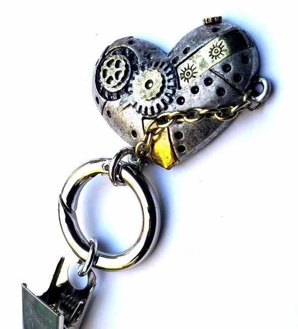 Heart with Gears Magnetic Badge Eyeglass Holder - QB's Magnetic Jewelry Creations