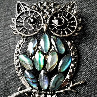 Abalone Owl Magnetic Fashion Brooch - QB's Magnetic Jewelry Creations