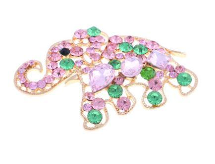 Pink Elephant Crystal Magnetic Brooch - QB's Magnetic Creations