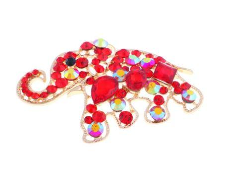 Red Crystal Elephant Magnetic Brooch - QB's Magnetic Creations