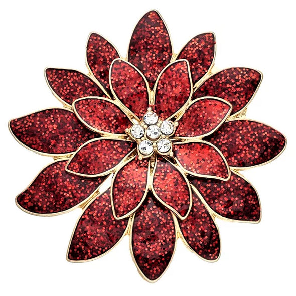 Poinsettia Magnetic Brooch - QB's Magnetic Jewelry Creations