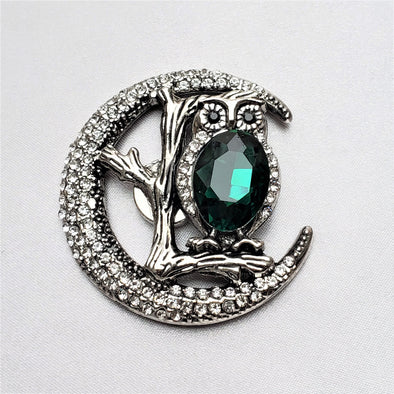 Owl & Moon Rhinestone Magnetic Fashion Brooch - QB's Magnetic Jewelry Creations