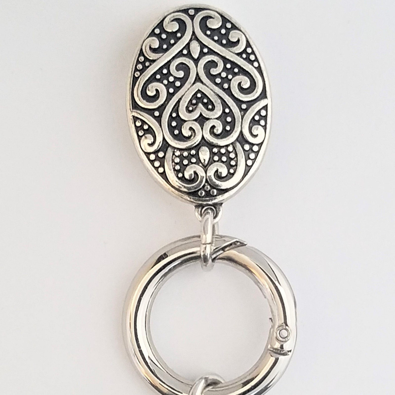 Silver Oval Magnetic Badge / Eyeglass Holder - QB's Magnetic Creations