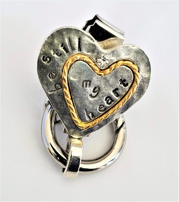 Two-Tone Heart Magnetic Badge / Eyeglass Holder - QB's Magnetic Jewelry Creations