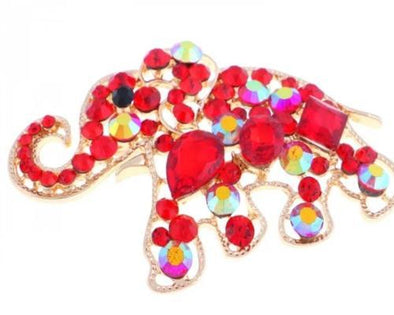 Red Crystal Elephant Magnetic Brooch - QB's Magnetic Jewelry Creations