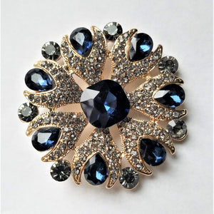 Blue & Gold Rhinestone Magnetic Brooch - QB's Magnetic Creations