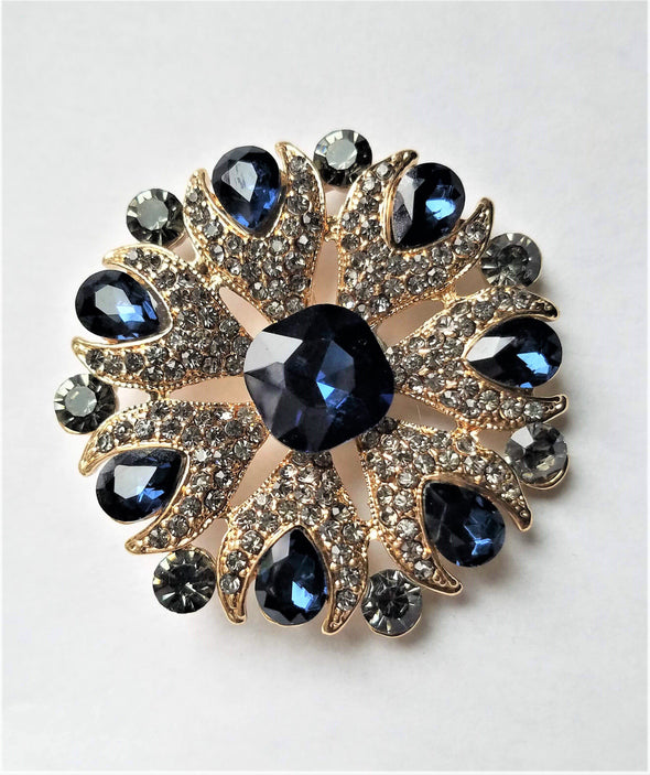 Blue & Gold Rhinestone Magnetic Brooch - QB's Magnetic Jewelry Creations