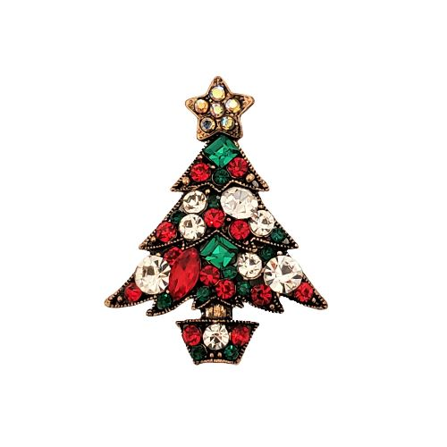 Christmas Tree Rhinestone Magnetic Brooch - QB's Magnetic Creations