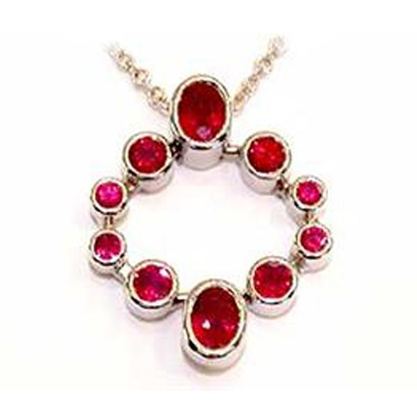Ruby round and oval 18ct white gold pendant handmade-David Smith Jewellery