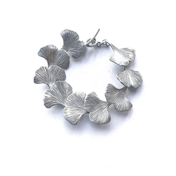 Ginkgo Leaf Sterling Silver Handmade Hand Engraved Bracelet T-bar Catch - David Smith Jewellery