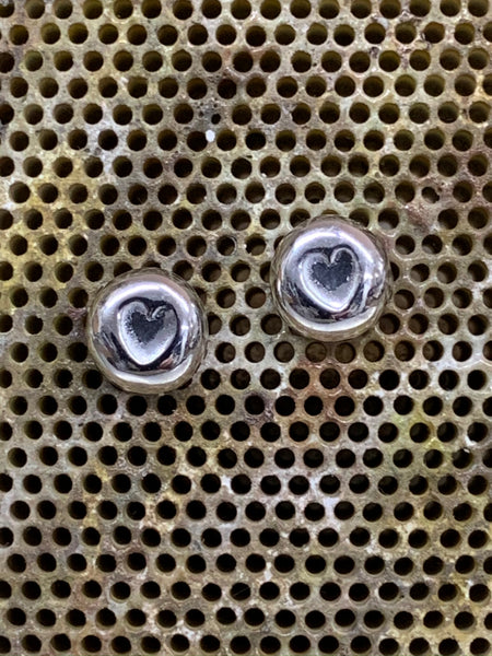 9ct white gold heart nugget stud earrings rhodium plated with posts and scrolls 7mm diameter-David Smith Jewellery