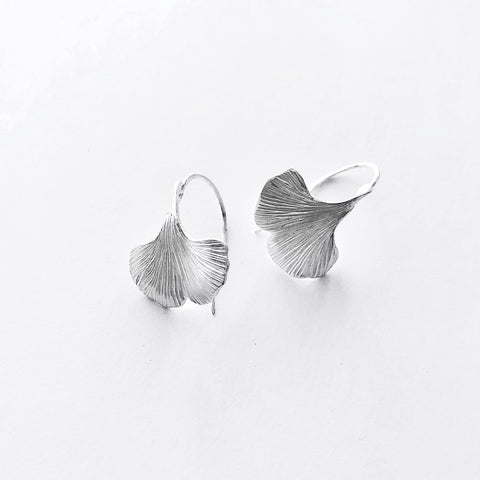 Handmade ginkgo leaf hook earrings Sterling silver 20mm wide-David Smith Jewellery