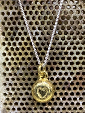 18ct gold vermeil sterling silver heart nugget pendant on silver curb chain 7mm diameter-David Smith Jewellery