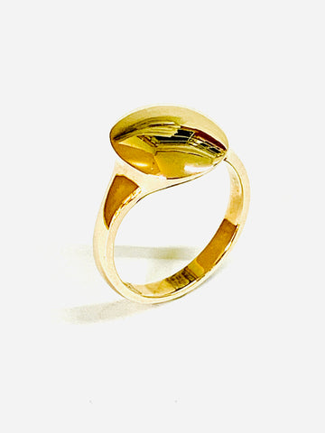 Signet Ring contemporary gold oval head 13.6mm x 11.8mm swept up head more prominent sizes H I J K L M N O P Q R S - David Smith Jewellery