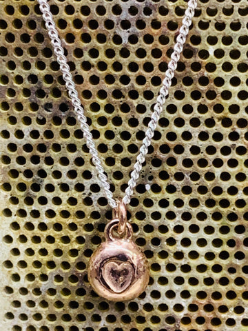 "Red gold vermeil sterling silver heart nugget pendant close curb chain 16 inch 18"" 7mm diameter-David Smith Jewellery"