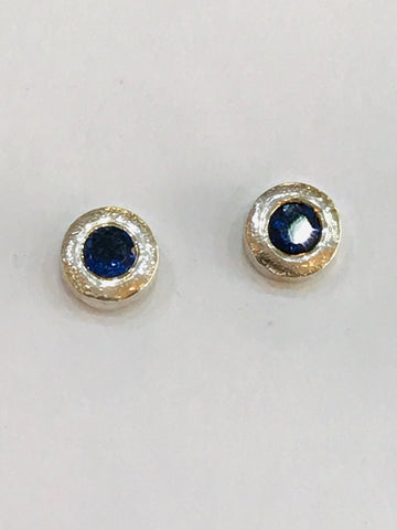 Sapphire 4mm Round Faceted Silver Stone Set Stud Earrings 7mm Post and Scroll - David Smith Jewellery