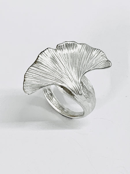 Ginkgo Leaf Sterling Silver Handmade Ring Size H J K L M N O P Q R S-David Smith Jewellery