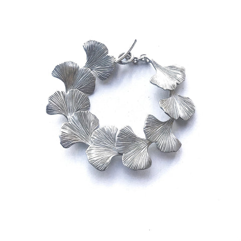 Ginkgo Leaf Bracelet Sterling Silver Bracelet T-bar Catch Handmade Hand Engraved - David Smith Jewellery