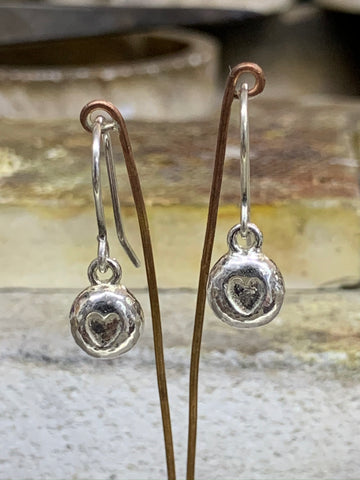 Sterling silver heart nugget drop earrings on hooks 7mm nugget - David Smith Jewellery