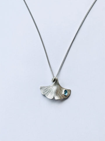 "Ginkgo leaf pendant 35x25mmSterling Silver oval blue topaz cabochon 18""/45cm curb chain-David Smith Jewellery"