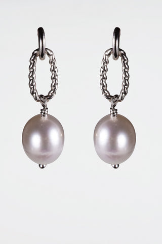 Freshwater Peacock Pearl Chain Link Drop Earrings Sterling Silver Post and Scroll - David Smith Jewellery