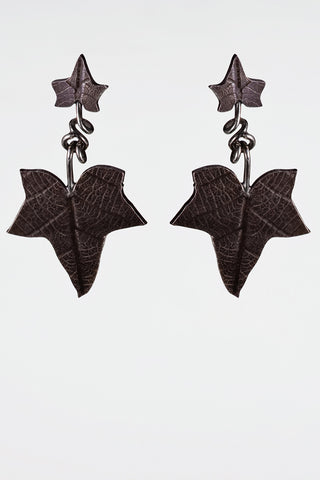 Sterling Silver Ivy Leaf Drop Earrings Studs Gothic Victorian Oxidised Finish - David Smith Jewellery