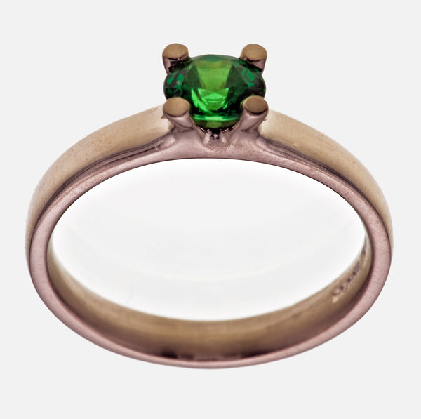 Oval Cut 1.00ct Tsavorite Garnet 18ct. White Gold 4Claw Ring