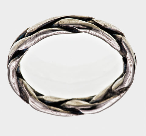 Sterling Silver Plaited Band Ring Ivy Leaf Gothic Victorian Oxidised Finish - David Smith Jewellery