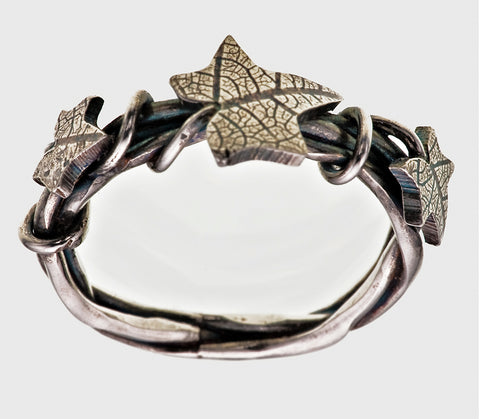 Sterling Silver Plaited Overgrown Ivy Leaf Ring Three Leaf Victorian Gothic Oxidised Finish - David Smith Jewellery