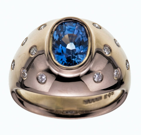 High Dome Platinum Ring Bezel Set Oval Sapphire Flush Set Brilliant Cut Diamond Shoulders - David Smith Jewellery