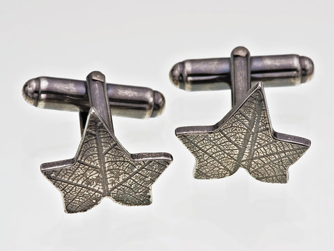 Sterling Silver Pair of Cufflinks Ivy Leaf Imprinted Texture Gothic Victorian Oxidised Finish - David Smith Jewellery