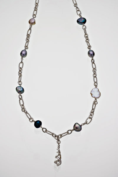 "Freshwater Pearl Helix Pendant Sterling Silver Necklace 18"" Long - David Smith Jewellery"