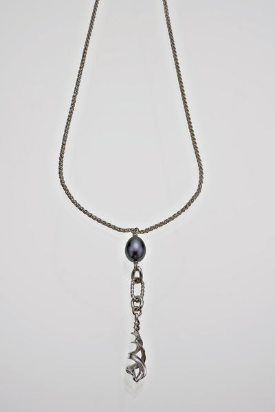 Freshwater Peacock Pearl Sterling Silver Twisted Link Helix Pendant - David Smith Jewellery