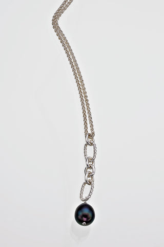 Freshwater Pearl Twisted Link Sterling Silver Necklace Rope Chain - David Smith Jewellery