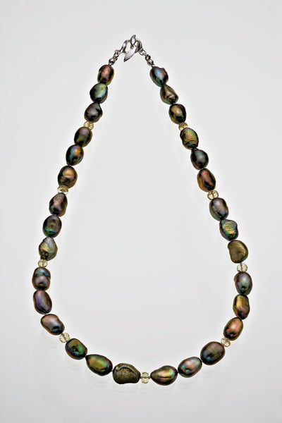 Freshwater Pearl Pale Tourmaline Bead Necklace Sterling Silver Leaf Catch - David Smith Jewellery